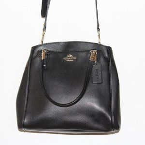 COACH Minetta Black Leather and Gold Med Crossbody